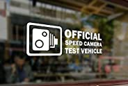 25cm Official Speed Camera Testing Vehicle Vinyl Stickers Funny Decals Bumper Car Auto Computer Laptop Wall Wi