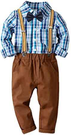 3bf399c66 Little Gentleman Bowtie Long Sleeves Plaid Shirt+Suspenders Pants 2Pcs  Outfits for Teen Kids Toddler