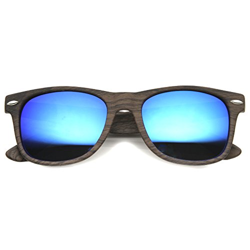 zeroUV - Wood Printed Frame Wide Temple Square Colored Mirror Lens Horn Rimmed Sunglasses 58mm (Dark Wood / - Mirror Sunglasses Square