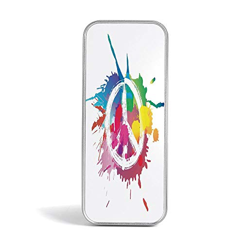 Tin Pencil Box,Groovy Decorations,Pen Case Organizer for School Office Home,Hand Gesturing Symbol of Peace with Flowers and Sunbeams Funky Modern Art]()