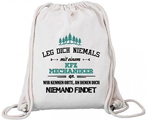 ShirtStreet Premium Bio Baumwoll Turnbeutel Rucksack Stanley Stella Leg Dich niemals mit einem KFZ Mechaniker an Natural