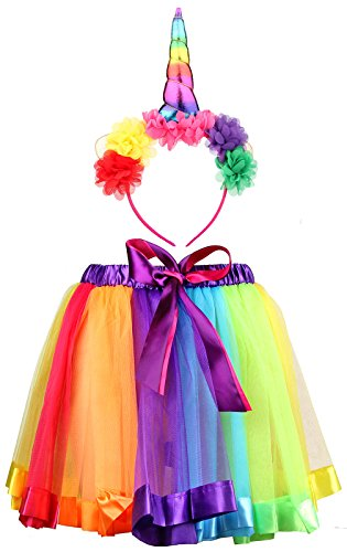 (IETANG Women's Rainbow Long Gloves Socks and 3 Layered Tulle Tutu Skirt Party Accessory Set)