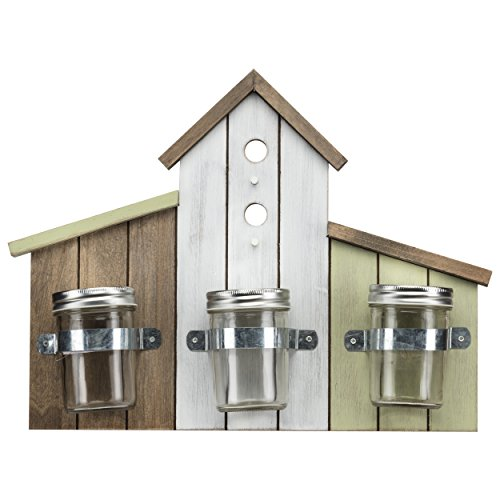 PRINZ Potting Shed Birdhouse Wall Decor with 3 Vases