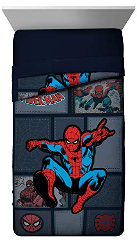 Marvel Spider Man Jump Kick Twin Comforter - Super Soft Kids Reversible Bedding features Spiderman - Fade Resistant Polyester Microfiber Fill (Official Marvel Product)