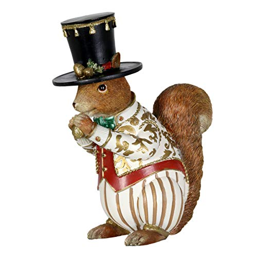 Exhart Outdoor Christmas Statue – Christmas Squirrel in Top Hat – Festive Hand Painted Outdoor Christmas Animals for Garden, Farmhouse Holiday Decor or a Rustic Christmas ()