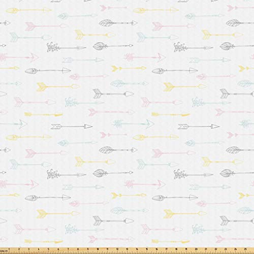Lunarable Ethnic Fabric by The Yard, Native American Culture Arrows Pastel Tribal Design Indigenous Folklore Elements, Microfiber Fabric for Arts and Crafts Textiles & Decor, 1 Yard, Multicolor from Lunarable