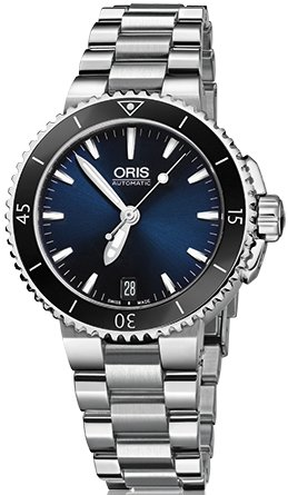 Oris Women's 'Aquis' Swiss Automatic Stainless Steel Diving Watch, Color:Silver-Toned (Model: 73376524135MB)