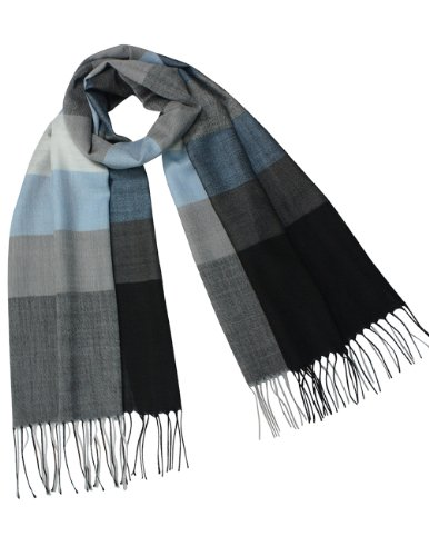 - Dahlia Women's 100% wool Scarfs, Wraps, Shawls, Wide Awning Striped, Blue Gray