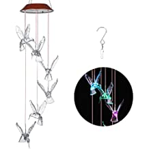 IMAGE Outdoor Windlights Solar Powered LED Changing Light Color Hummingbird Wind Chimes Larger for Gardening Lighting Decoration Home (315GR)