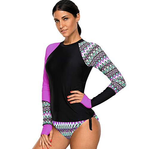 FEDULK Surf Swimsuit for Women Long Sleeve UV Sun Protection Top and Shorts 2 Pieces Tankini Swimwear Set