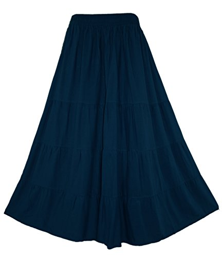 (Beautybatik Navy Blue Boho Gypsy Long Maxi Tiered Skirt 1X)