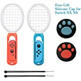 Farway Tennis Racket for Nintendo Switch,Twin Pack Tennis Racket for N-Switch Joy-Con Controllers for Mario Tennis Aces Games (Blue and Red)