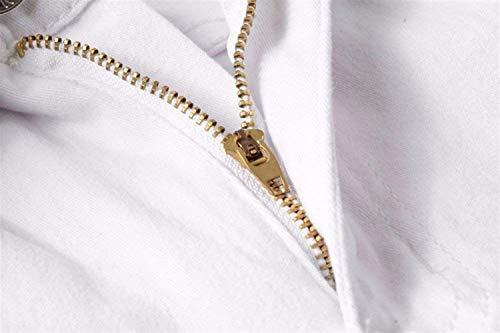 Slim In Con White1 Aspetto Vestibilità Semplice Pantaloni Strappati Da Skinny Uomo Stile Lanceyy Jeans Denim Distrutto H7qpvv