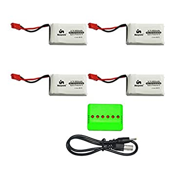 Noiposi 4 pcs 3.7v 850mah 25c Upgrade Lipo Battery (JST Plug) with X6 Charger for MJX X400 X400W X800 X300C X200 X500 Sky Viper S670 V950hd Drone HS110W HS200W Drone