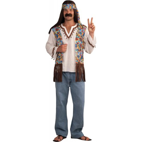 Forum Novelties Men's Groovy Hippie Costume Shirt and Headband, Multi Colored, One - Costume Hippy