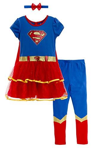 Dc Comic Girls (DC Comics Supergirl Baby Girls Costume Dress Cape Leggings & Headband 12-18)