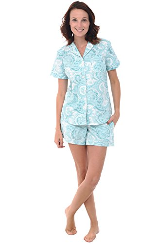 (Alexander Del Rossa Womens Woven Cotton Pajama Set with Shorts, Button Down Pjs, Small Light Blue Paisley (A0502R53SM))