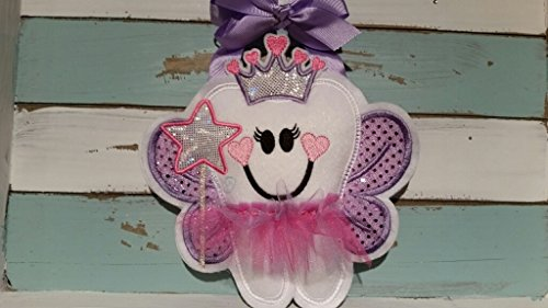 Personalized Tooth Fairy Pillow~ Princess Tooth Fairy Pillow with Crown ~ Wand and TuTu by Faith N Grace Tooth Fairy Pillows