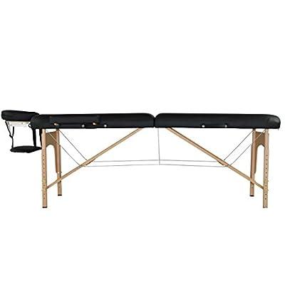 "Black 2.5"" Pad Portable Massage Table Facial Bed Spa Chair w/2 Half Bolster R12"