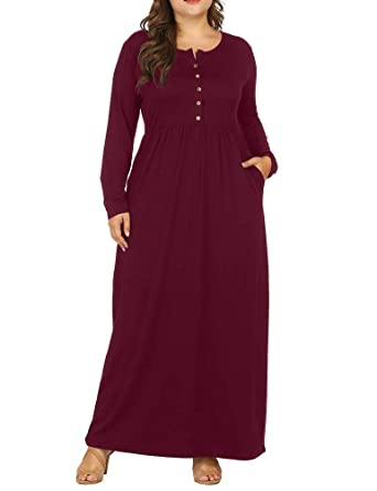 9553a84c7a0 Allegrace Women Plus Size Henley Round Neck Button Up Long Sleeve Pocket Maxi  Dress Wine Red