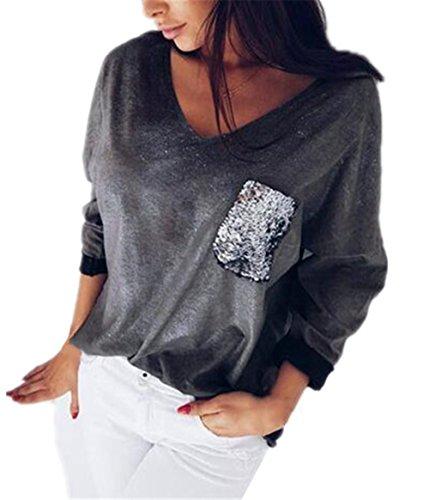 Pullover Aivosen A Manica collo Classico Sweatshirt Lunga Donne Casuale V Splice Black Paillettes Felpa Moda dr08rx