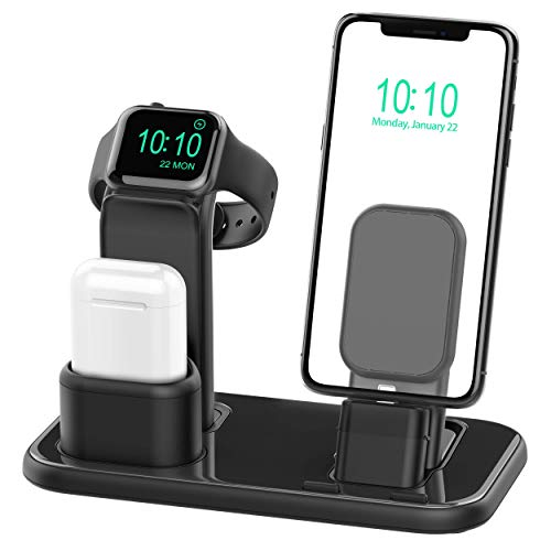 Beacoo Upgraded 3 in 1 Charging Stand for Apple Watch Series 4/3/2/1, AirPods Dock Charging Station for iPhone Xs/X Max/XR/X/8/8Plus/7/7 Plus /6S /6S Plus/iPad Mini(Original Charger & Cables Required) (Iphone Case Apple Charger 4)