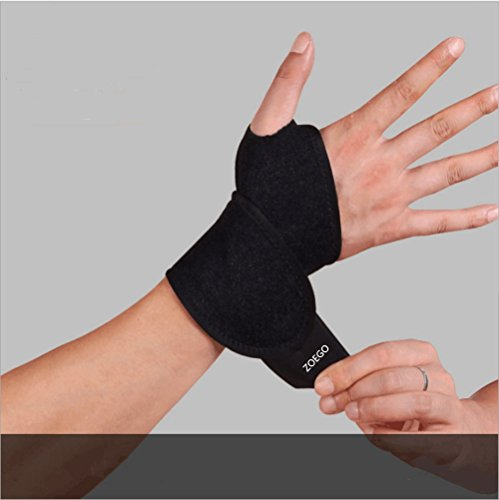 Wrist Brace Compression Wrist Strap Support for Carpal Tunnel, Arthritis, RSI, TFCC Tear, Tendonitis and Sprains for Weak and Sore Wrists by Velpeau (Adjustable, Thumb Winding Black)