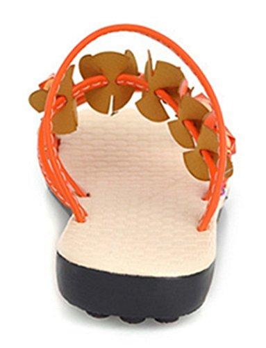 Chfso Femmes Boho Strass Floral Confortable Talon Plat Lanières Lanières Orange