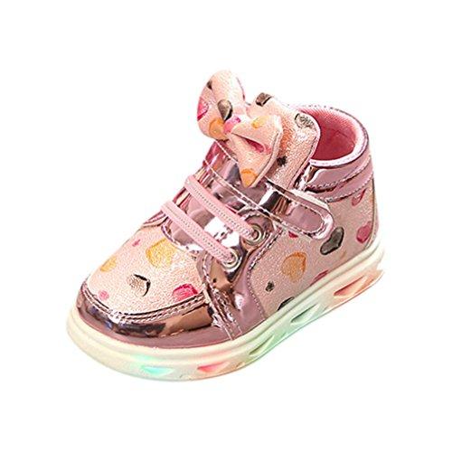 Hunpta Kleinkind Baby Mode Turnschuh Herz Leuchtendes Kind Zufällige Bunte Helle Schuhe Rosa