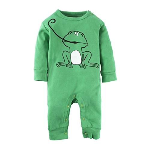 BIG ELEPHANT Baby Boys'1 Piece Green Cute Frog Long Sleeve Romper Jumpsuit Saint Patrick's Day L42-80 3-6 ()