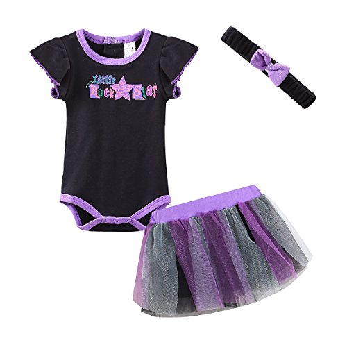 Mud Kingdom Baby Girls Rompers and Skirts Outfit Little Rock Star (Star Outfit)