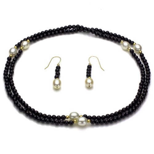 La Regis Jewelry 14k Yellow Gold 8-8.5mm White Freshwater Cultured Pearl and 3mm Simulated Onyx Endless Necklace Set