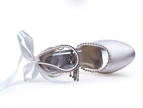 Tacco A Spillo Ministrina Gymz638 Donna Tacco A Spillo Tacco A Spillo In Raso Catena Cinturino Scarpe Da Sposa Bianco-tacco 10cm
