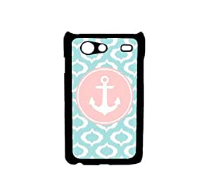 Anchor Aqua Ikat Cute Hipster Aqua Silicon Bumper Samsung Galaxy S Advance i9070 Case - Fits Samsung Galaxy S Advance i9070