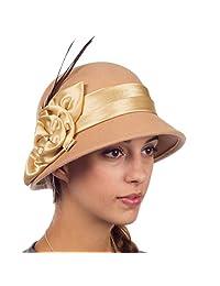 Sakkas Danielle Vintage Style Wool Cloche Hat