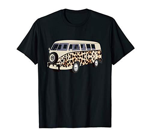 (Camper Camping Car Heart Peace Symbol Leopard Cheetah Print  T-Shirt)