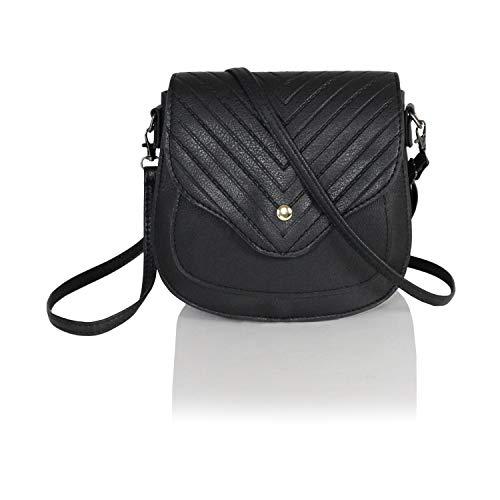 Chic Mini Herringbone Vegan Leather Saddle Bag, Boho Chevron Crossbody Swing Purse with Adjustable Long Strap - Designer Handbags Chloe