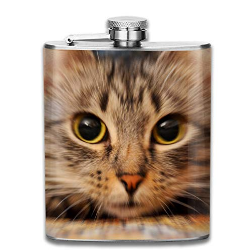Laki-co Cute Pet Cat Hip Flask for Liquor Stainless Steel Bottle Alcohol -