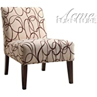 Aberly collection waves print with tapered legs fabric upholstered accent side chair