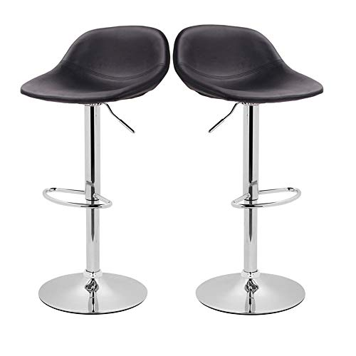 (Adjustable Swivel Barstools with Back for Home Bar Kitchen Counter, New Modern Black PU Leather Hydraulic Bar Chair-Set of 2, Hold Up to 350lb)