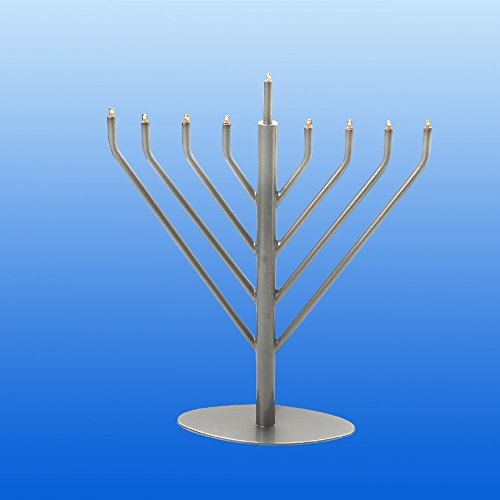 Israel Giftware EM-19P Electric Pewter Menorah with Clear & Bulbs44; Blue