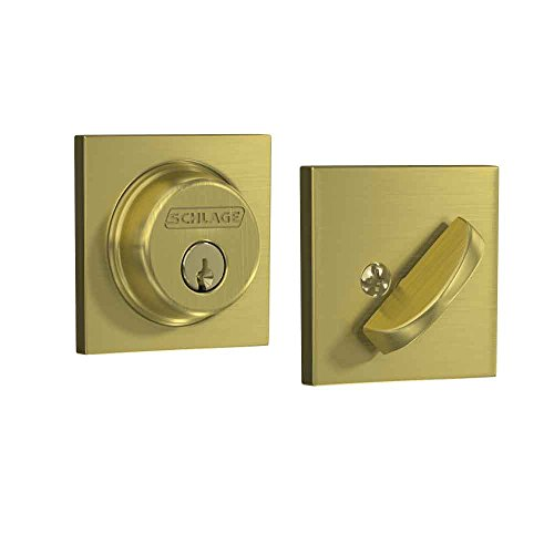 Schlage Lock Company Single Cylinder Deadbolt with Collins Trim, Satin Brass (B60 608 COL),