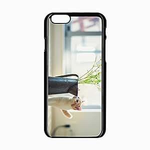 iPhone 6 Black Hardshell Case 4.7inch kitten vase flowers parquet Desin Images Protector Back Cover