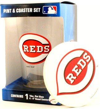 Cincinnati Reds MLB 16 Oz. Pint Glass & 4 Piece Coaster Set