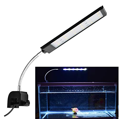 COODIA Auairum Fish Tank Clip-on Light Clamp Aquatic Plant Lighting, White and Blue LED 420LM