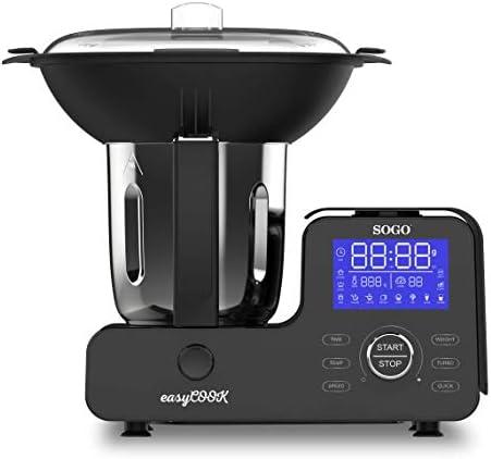 Sogo – Easy Cook BAT-SS-14555, Robot da cucina multifunzione, bilancia integrata, con vapore, 1500 W, 4 litri, acciaio inox, 11 velocità, nero, con ricettario (lingua italiana non garantita)