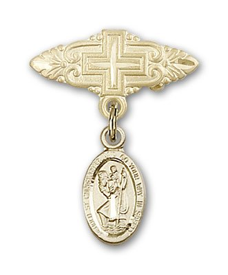 Religious Obsession Gold Filled Baby Badge with St. Christopher Charm and Badge Pin with Cross ()