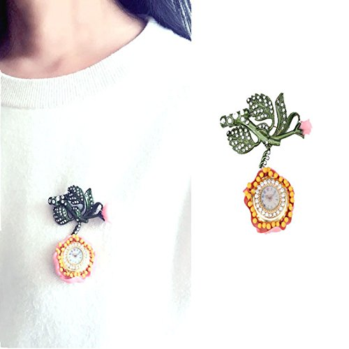 TKHNE New resin models with designer April rose luxurious eye-catching clock beautiful brooch pin badge clothes (April Brooch)
