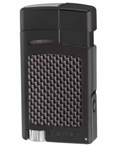 Forte Single Torch Flame Cigar Lighter - Black Carbon Fiber