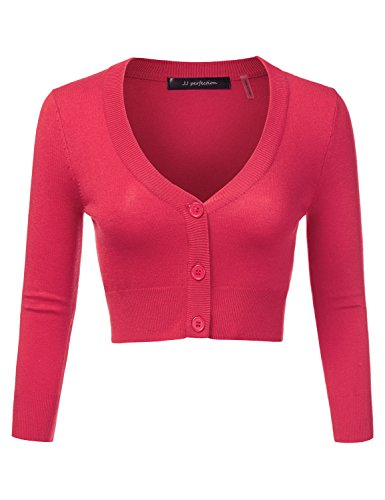 JJ Perfection Women's Solid Woven Button Down 3/4 Sleeve Cropped Cardigan Rosepink 2XL (3/4 Cardigan V-neck Sleeve)